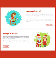 merry christmas handcrafted gift cartoon character vector image