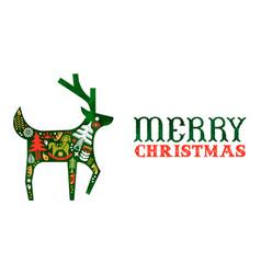merry christmas retro watercolor folk deer banner vector image
