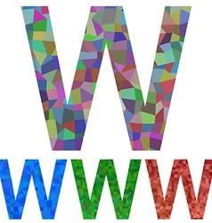 Mosaic font design - letter W vector