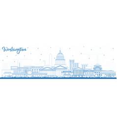 Outline washington dc usa city skyline with blue vector
