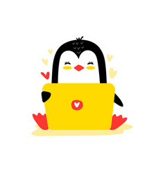 Penguin sitting with a laptop vector