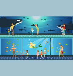 people visiting oceanarium parents and their kids vector image