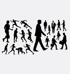 people walking and running silhouette vector image