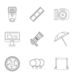 Photographic icons set outline style vector