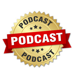 Podcast round isolated gold badge vector