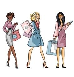 Pretty fashionable women vector