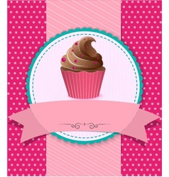 retro cupcake on striped background vector image