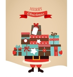 Santa Holding Christmas Gifts merry christms and vector image