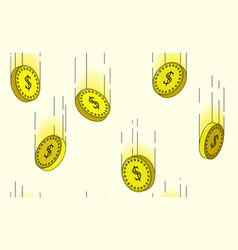 seamless pattern dollar coins falling in motion vector image