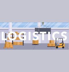 set flat warehouse icons logistic blank vector image