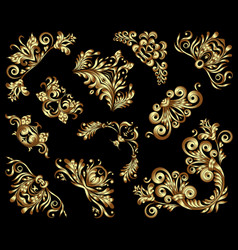 set gold decorative hand-drawn floral vector image