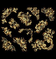 Set gold decorative hand-drawn floral vector