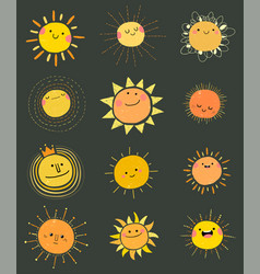 set hand drawn cute sun icons vector image