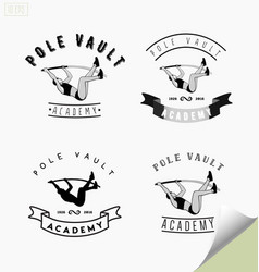 set logos with pole vaulting or jumping vector image