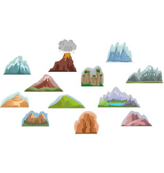 set mountain elements outdoor icon hand drawn vector image