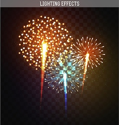 Set realistic fireworks different shapes Colorful vector