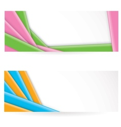 Shiny colorful striped banners vector
