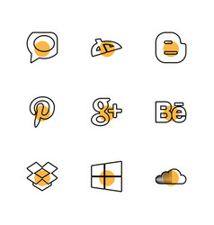 Social media eps icons set vector