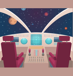 Spaceship cockpit shuttle inside interior with vector