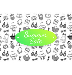 summer sale banner with hand drawn fashion clothes vector image