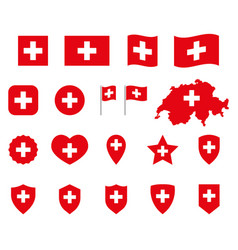 switzerland icons set national flag vector image