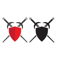 Sword and shield or crossed sheath vector