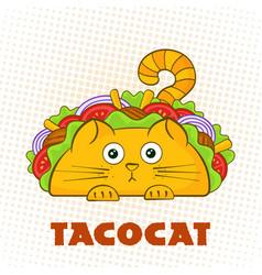 Tacocat surprised character fast food taco symbol vector