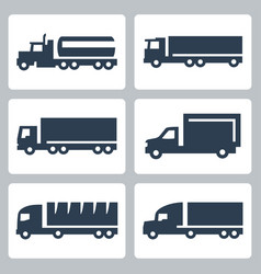trucks icons set side view vector image