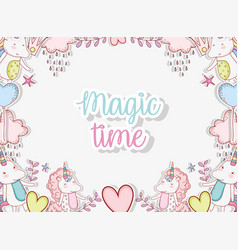 Unicorn trendy character with hearts and crowns vector