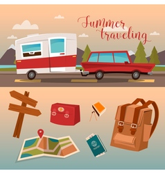 Vacation Time Active Summer Holidays by Camper vector