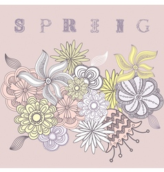 Vintage Spring Flowers Background vector image vector image