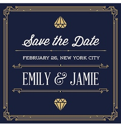 Vintage Style Invitation for Wedding Save the Day vector