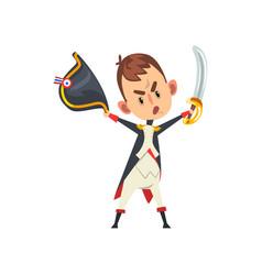 Warlike napoleon bonaparte cartoon character vector