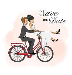 Wedding invitation card couple on bicycle vector