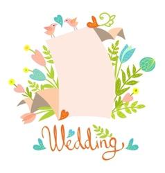 wedding invitation card template vector image