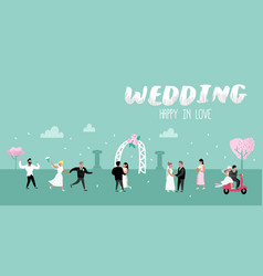 Wedding people cartoons bride and groom characters vector