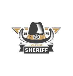 wild west sheriff vintage label vector image
