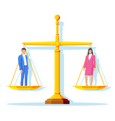Woman and man as gender symbol balanced on weight vector