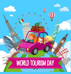 world tourism day logo with couple tourist vector image