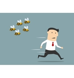 Businessman running away from angry bees vector image vector image