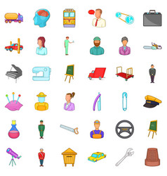 human resource icons set cartoon style vector image