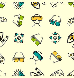 Seamless pattern with colored vr elements vector
