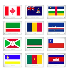 Set of National Flags on Metal Texture Plates vector image vector image