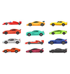 different sport cars isolated on white vector image