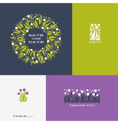 Floral design elements and wreath of Allium vector image vector image
