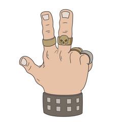 hand in victory gesture vector image