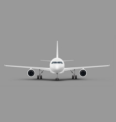 passenger airplane front view template vector image