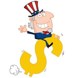 Uncle Sam Riding A Dollar Symbol vector image