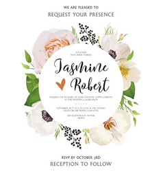 wedding floral invitation invite watercolor card vector image