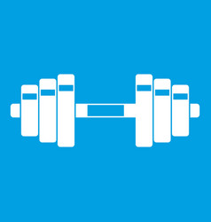 barbell icon white vector image